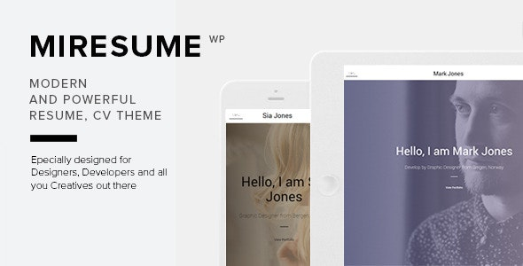 Miresume - Resume, CV & Portfolio WordPress Theme - Personal Blog / Magazine