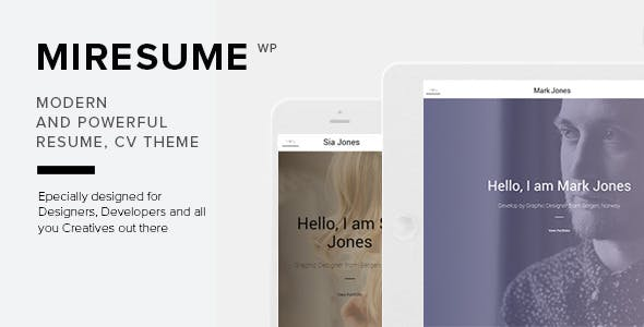 Miresume - Resume, CV & Portfolio WordPress Theme