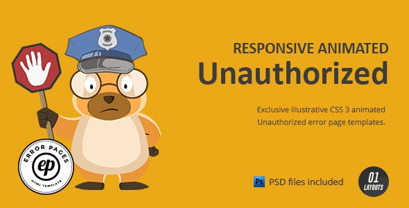Unauthorized   CSS Animated HTML Template - Miscellaneous Specialty Pages