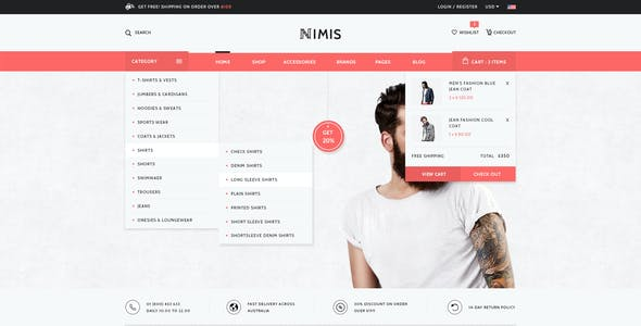 Nimis - eCommerce, Online Shop PSD Template
