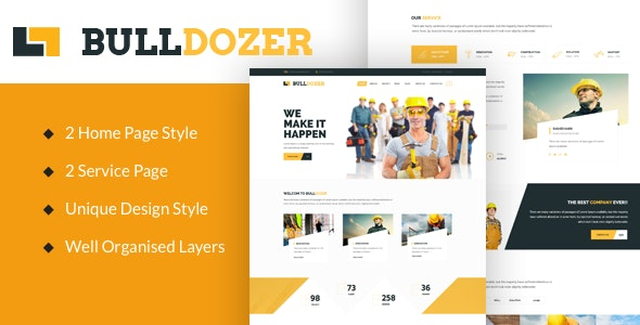 Bulldozer - Construction PSD Template - Miscellaneous Photoshop