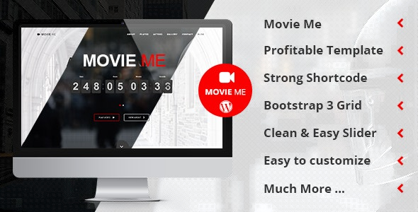 Movie Me - One Page Responsive WordPress Theme - Film & TV Entertainment