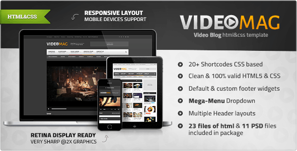 VideoMag - Powerful Video HTML Template - Entertainment Site Templates