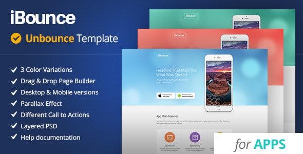 iBounce - Unbounce Mobile App Template - Unbounce Landing Pages Marketing
