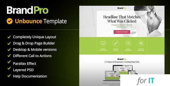 BrandPro - Unbounce IT Template - Unbounce Landing Pages Marketing