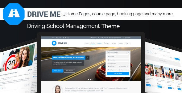 Driveme - Driving School WordPress Theme - Education WordPress