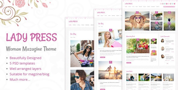 LadyPress - Woman Magazine Blog PSD Template - Creative Photoshop