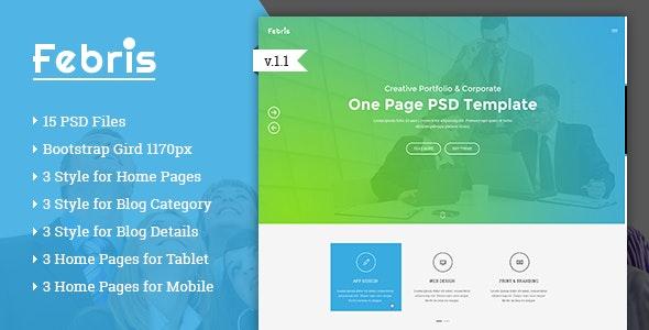 Febris - Porfolio, Corporate One Page PSD Template - Portfolio Creative