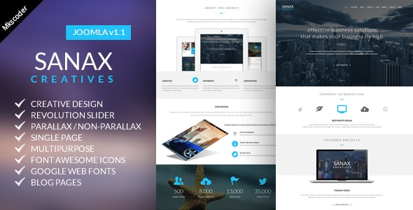 Sanax | One Page Multi-Purpose Joomla Template - Creative Joomla
