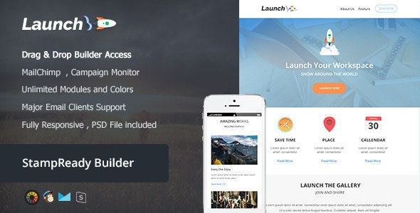 Launch - Responsive Email + Builder Online - Newsletters Email Templates