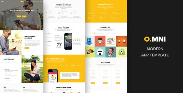 Omni - onepage app template - Technology Photoshop