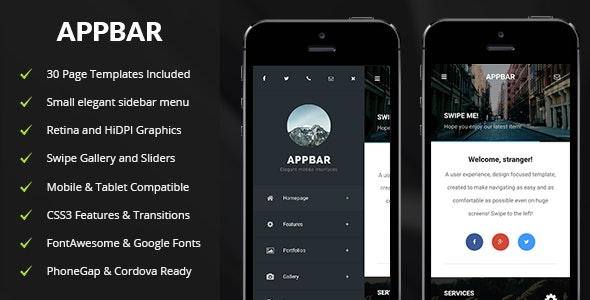 AppBar Mobile - Mobile Site Templates