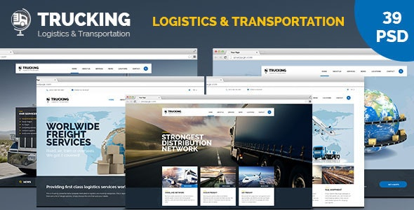 Trucking Transportation and Logistics PSD Template - Business Corporate