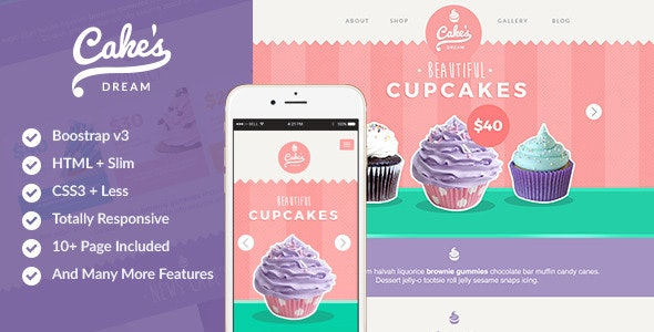 Cake Dream - Responsive Cake Shop Template - Food Retail
