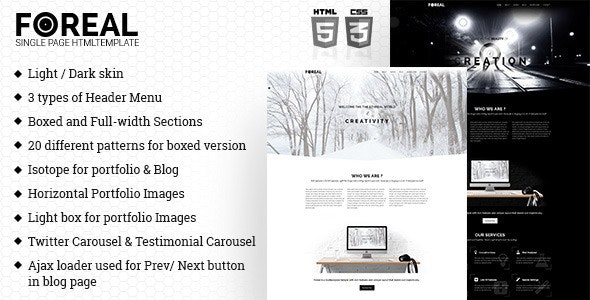 Foreal -  Minimal HTML Template - Creative Site Templates