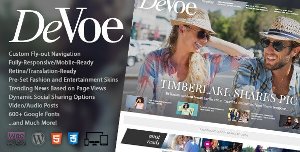 DeVoe - Fashion & Entertainment News Theme - News / Editorial Blog / Magazine