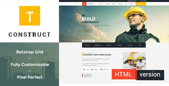 Construct:Building and Construction HTML Template - Business Corporate