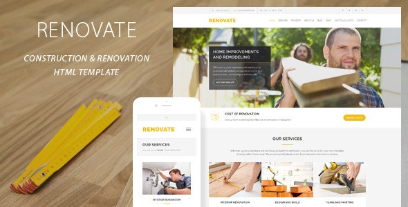Renovate - Construction Renovation Template - Business Corporate