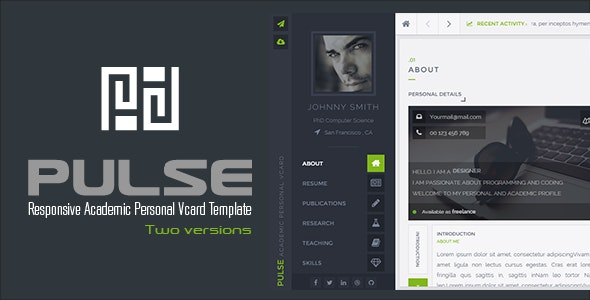 PULSE - Personal / Academic Vcard Template - Personal Site Templates