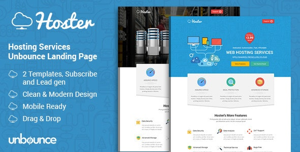 Hoster - Hosting Services Landing Page - Unbounce Landing Pages Marketing