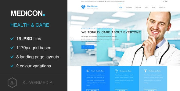 Medicon - Health Care PSD Template - Health & Beauty Retail