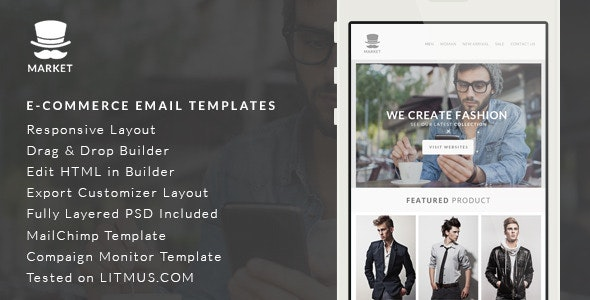 Market E-Commerce Newsletter + Builder Access - Email Templates Marketing