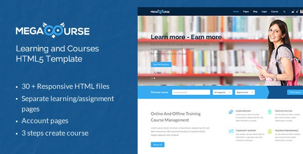 Megacourse - Learning and Courses HTML5 Template - Corporate Site Templates