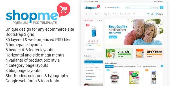 ShopMe - Ecommerce Multipurpose PSD Template - Retail Photoshop