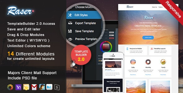 Raser - Responsive Email + MailBuild Online - Newsletters Email Templates