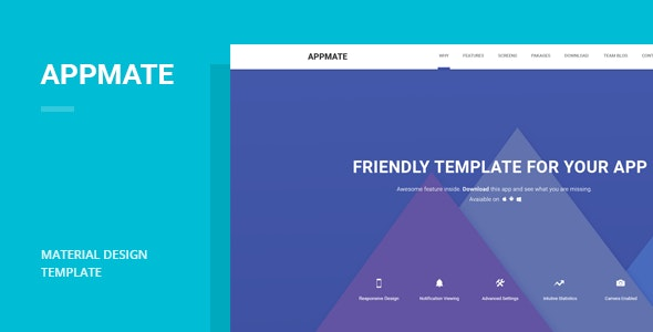 Appmate - Material Design App Landing Template - Apps Technology
