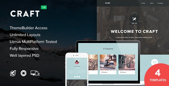 Craft - 4 Pack Templates + Themebuilder Access - Newsletters Email Templates