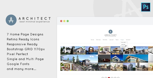 Architect - Minimal PSD Template for Architects - Creative Photoshop