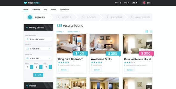Hotel Finder - Online Booking PSD Template