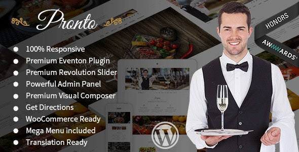 Pronto – Restaurant & Event WordPress Theme