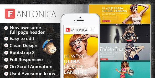 Fantonica: Responsive Bootstrap HTML5 Landing Page - Marketing Corporate