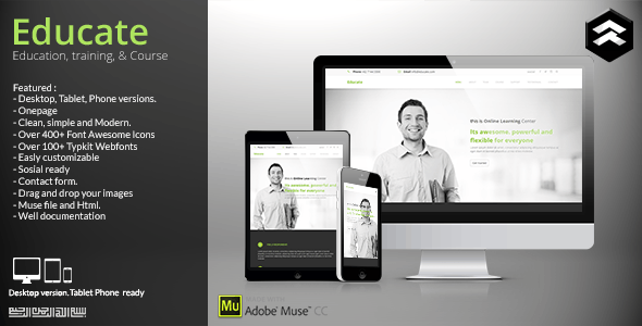 Educate - Education, Courses Muse Template - Corporate Muse Templates