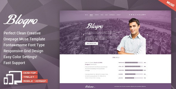 Blogro - One Page Personal Muse Templates - Personal Muse Templates