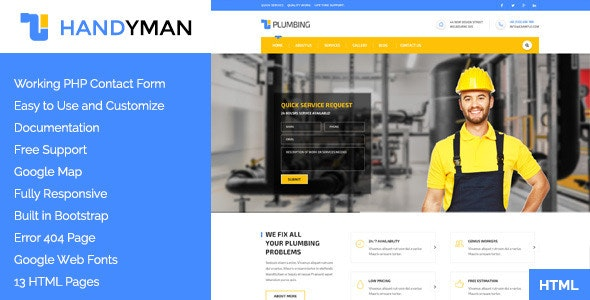 Handyman - Construction HTML Template - Business Corporate