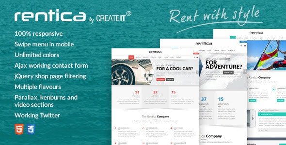 Rentica - Renting HTML Template - Travel Retail
