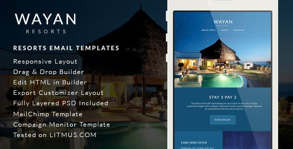 Wayan - Resorts Email Templates - Builder Access - Email Templates Marketing