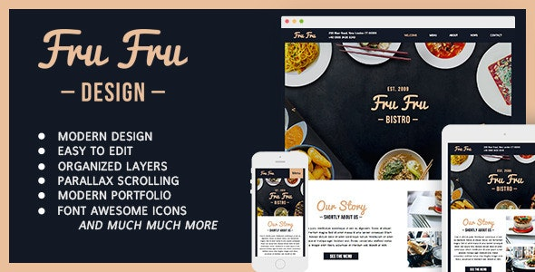 Fru Fru - Multi&One Page Restaurant Muse Theme - Creative Muse Templates