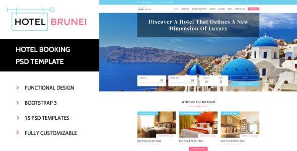 Hotel Brunei - Booking PSD Template - Travel Retail