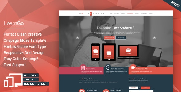 LearnGo - OnePage Education Muse Template - Landing Muse Templates