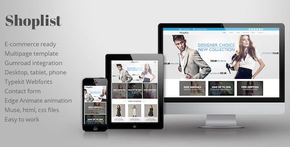Shoplist - eCommerce Muse Template