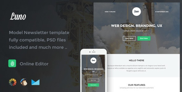 Luno - Responsive Email Template + Online Editor - Email Templates Marketing