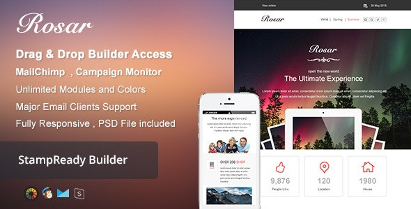 Rosar - Responsive Email + Builder Online - Newsletters Email Templates