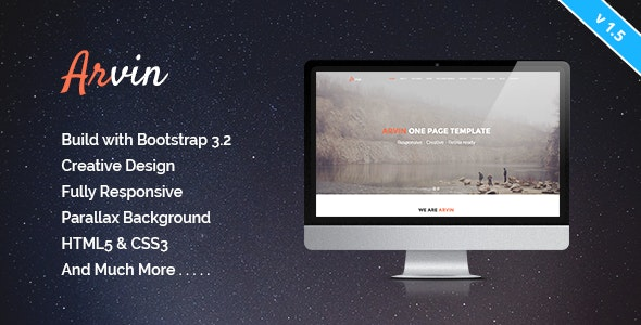 Arvin - Multipurpose One Page Template - Creative Site Templates