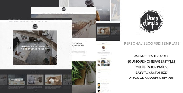 Demo Olimpia | Personal Blog PSD Template - Personal Photoshop
