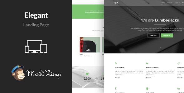 Elegant - Minimal Responsive Landing Page - Landing Pages Marketing
