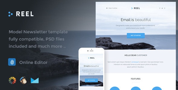 Reel - Responsive Email Template + Online Editor  - Email Templates Marketing